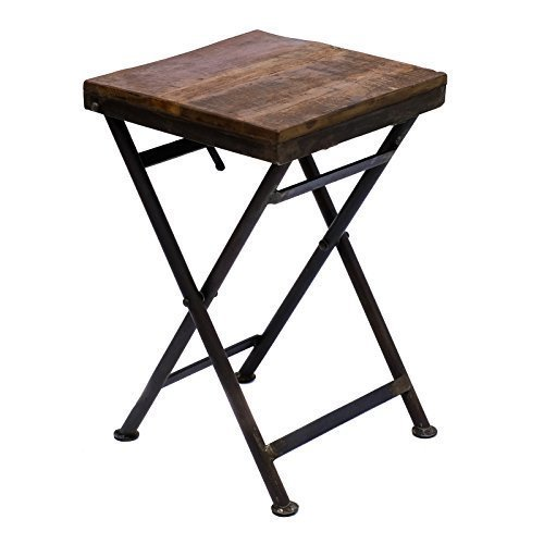 Hocker Klein - Mesa plegable de hierro, taburete, mesa auxiliar de madera maciza, mesa de jardín, mesa de balcón estable, estilo vintage rústico + BRIL Lift