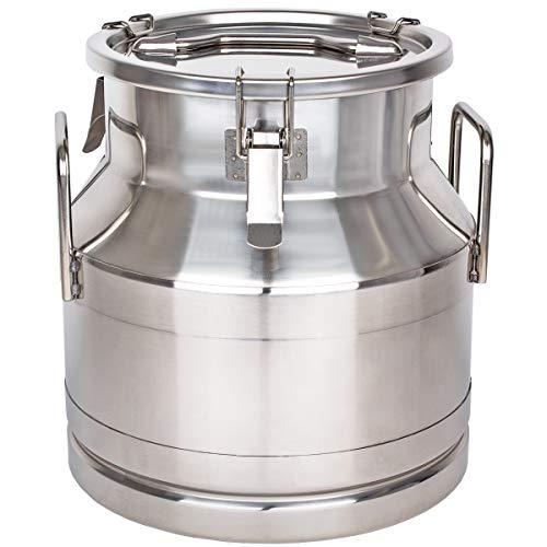 Beeketal \'BMK-20\' Milchkanne Transportkanne 20 Liter aus Edelstahl, auslaufsicherer Deckel mit Spannverschluss und Gummidichtung, Molkerei Milch Kanne zum Transportieren oder zur Aufbewahrung