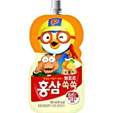 Pororo 6 Years old Red Ginseng Drink 10 Pouches Set; 뽀로로 홍삼쏙쏙 사과와 매실, 포도와 블루베리, 오렌지 (Orange)