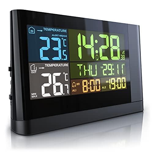 CSL - Wetterstation mit Außensensor - ausklappbare Projektion - Funk - Digitales Farbdisplay - DCF Funkuhr - Multifunktionale Funkwetterstation Thermometer - Anzeige von Innen und Außentemperatur