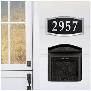 Whitehall Products Aluminum Wall Mounted Mailbox in Black + Whitehall Products Easy Street Address Sign in Silver
