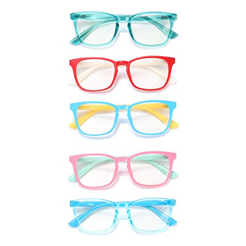 Blue Light Glasses for Kids Boys Girls Teens 5 Pack Premium Computer Glasses Unbreakable Frame Anti...