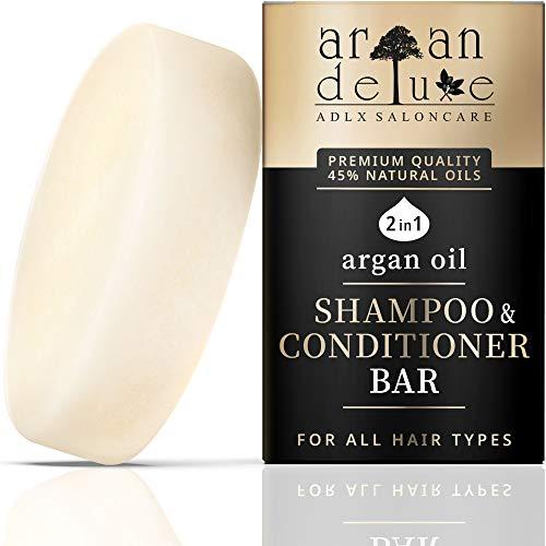 Argan Deluxe festes Shampoo & Conditioner Bar in Friseur Qualität NEU 2021 einzige Formel mit 45% Ölen - Premium Naturkosmetik Haarseife für Damen & Herren - toller Duft, Geschmeidigkeit & Glanz, 80g