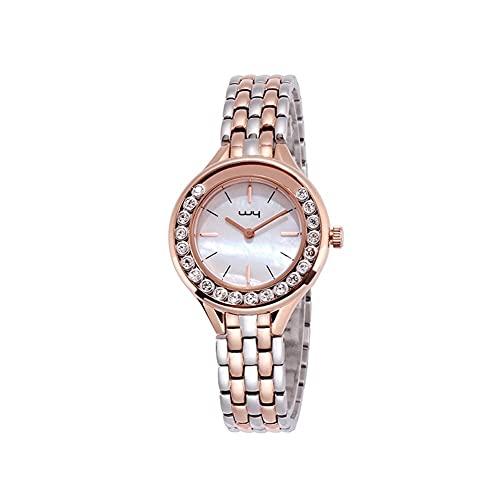WYH Reloj de Pulsera Reloj de Brazalete de Acero Inoxidable de Cuarzo de la cancha de la Reina de Las Mujeres Reloj de Pulsera Acentuado de Cristal de Mujer Elegante Ultra Fino (Color : A)