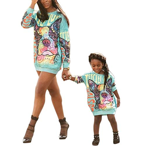 Mommy and Me Matching Cartoon Printed Loose Pullover Shirt Dress Parent-Child Family Long Sleeve Sweatshirt Outfits (Women, L)