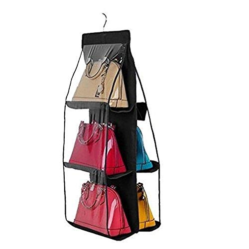 Ducomi Poppins - Colgador de Bolsos y Ropa con Gancho para Armario con 6 Compartimientos - Organiza Tus Bolsos y los Protege del Polvo Dentro de tu Armario (Negro)