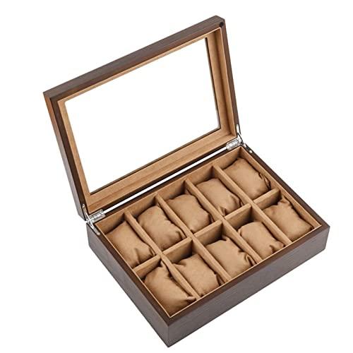 Caja de almacenamiento y exhibición de reloj de 10 ranuras, para hombres y mujeres, organizador de reloj de cuero, organizador de caja de joyería con tapa de vidrio para exhibición, para espaci