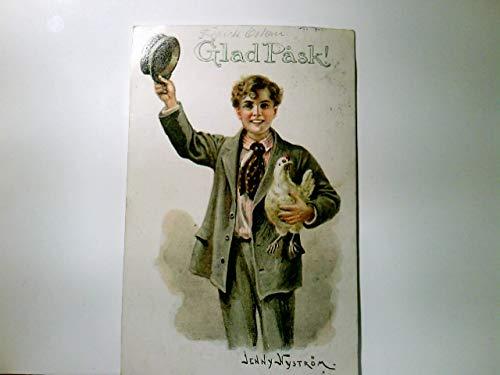 Glad Pask ! Frohe Ostern. Alte, seltene AK farbig der schwedischen Künstlerin Jenny Nyström, gel. 1917, Junge im Anzug hält Huhn auf dem Armund schwenkt seine Kappe