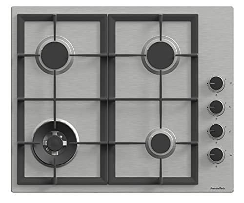 PremierTech Placa de cocción a gas de 60 cm con 4 fuegos con wok de acero inoxidable, rejillas de hierro fundido PC604S