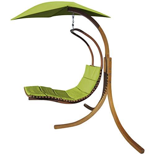 AS-S Design Chaise longoue Suspendu NAVASSA-Vert avec Support en mélèze de Bois et Toit et Coussin de