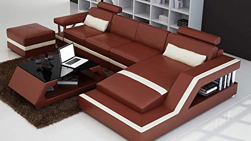 Its-Me Futuristische Designer Sofa Kombinationen|von Uns konfiguriert oder selbst stylen|feinstes weiches Leder|Wohnlandschaft|Ledercouch|LED|Bluetooth Lautsprecher|USB|