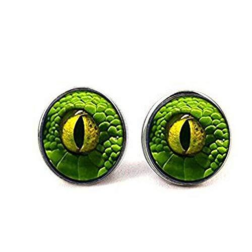 Pendientes de ojo de dragón verde, cúpula de cristal de joyería de ojo de dragón