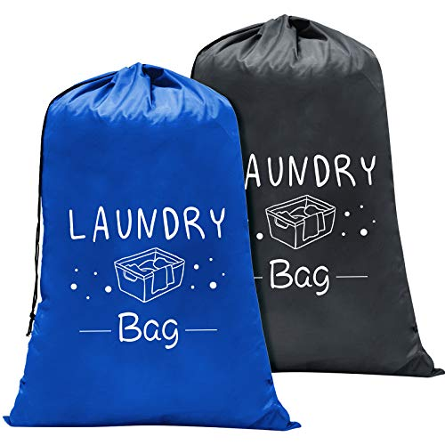 PASHOP 2 Pack Extra Large Travel Laundry Bags, Heavy Duty Camp Laundry Bag, Rip-Stop Machine Washable Dirty Clothes Organizer Bag with Drawstring Closure