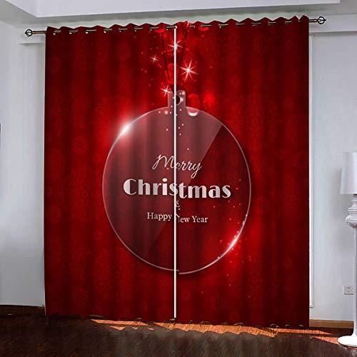 Beydodo Cortinas Exterior Poliester Cortinas Opaca 2 Piezas Copo de Nieve y Bola de Navidad Merry Christmas Rojo Cortina Dormitorio 264x274CM