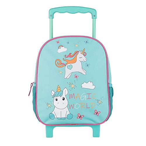 Idena Mochila trolley con 2 ruedas con purpurina, para niñas, color turquesa con un encantador diseño de unicornio, como maleta de mano, trolley escolar y mochila para niños, aprox. 31 x 27 x 10 cm