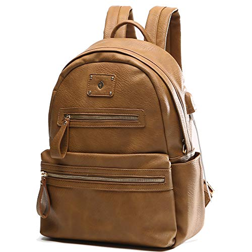 Leather diaper bag backpack by MissFong, baby Bag, Backpack for women with Usb Charger, Fits 13 Inch, 14 Inch Laptop(Brown)