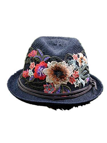 Carrito Gorra Bordado Sombrero étnico Damas británica Retro pequeño Sombrero Superior Casual Etapa étnico Sombrero de excursión-Metro_Negro