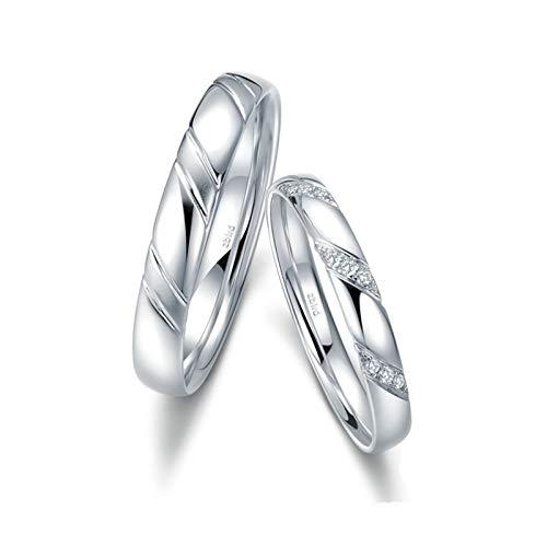 KnSam Anillo Oro Blanco de 18K, Raya Elegante Diamantes Anillos de Aplicación con Diamante Blanco 0.036ct, Mujer Talla 25 y Hombre Talla 27 (Precio por 2 Anillos)