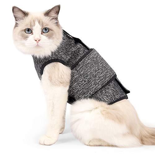 HEYWEAN Chaqueta de ansiedad de Gato, Chaleco de solución calmante para Fuegos Artificiales, Viajes, Camisa de Alivio de ansiedad de Trueno para Gatos Abrigo calmante de ansiedad (pequeño, Gris)