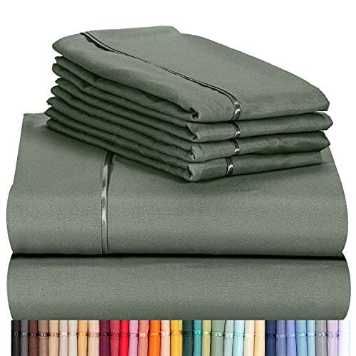 """LuxClub 6 PC Sheet Set Bamboo Sheets Deep Pockets 18"""" Eco Friendly Wrinkle Free Sheets Machine Washable Hotel Bedding Silky Soft - Tree Moss Green Queen"""
