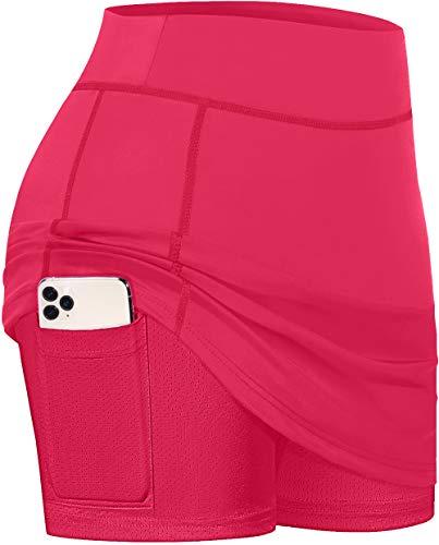 BLEVONH Skorts Skirts for Women,Plus Size Active Tennis Skirt with Liner Ladies Smooth Waist Airy Performance Sports Skort Gentle Active Wear Shorts Deep Pink XL