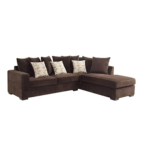Coaster Olson Reversible Upholstered Sectional, In Chocolate