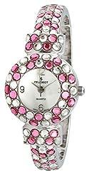 Pink Crystal Glitz Cuff Bangle Bracelet Jewelry Watch