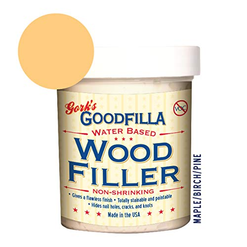 Water-Based Wood & Grain Filler -Maple//Pine - 8oz - by Goodfilla | Replace Every Filler & Putty | Repairs, Finishes & Patches | Paintable, Stainable, Sandable & Quick Drying (8 oz, Maple/Birch/Pine)