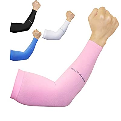 Sport Stretchy Arm Sleeves For Women & Men Ideal Sun UV Protection Cooling Fitness Football Forearm Sleeve Compression Arm Hide Tattoo Cover Up Sleeves To Cover Arms Mangas Para Brazos Gloves Football