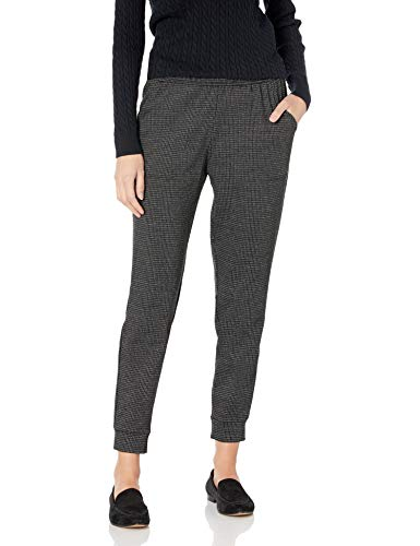 Max Studio Women's Houndstooth Double Knit Joggers, Black/Charcoal, Medium
