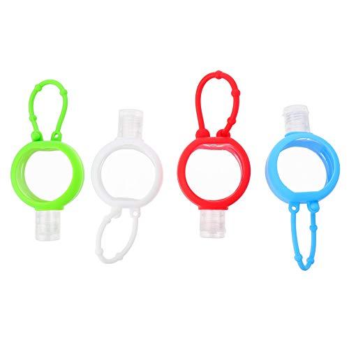 Pixnor 10 Stücke Kinder Reiseflaschen Schlüsselanhänger mit Silikon Hülle 30ml Flip Cap Flasche Weihnachten Mitgebsel Leere Seifenspender Kunststoff Duschgel Reisebehälter für Shampoo Handgel