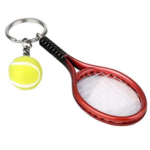 Ogquaton Premium Mini Raqueta de tenis colgante llavero llavero llavero regalo recuerdo teléfono inteligente cartera armadura ornamento (rojo) útil