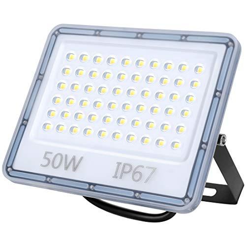 50W LED Strahler Außen, 5000LM Superhell LED Fluter, IP67 Wasserdicht Außenstrahler Flutlicht, 6500K Kaltweiß LED Scheiwerfer für Hinterhof, Auffahrt, Türen, Garage, Flur, Garten