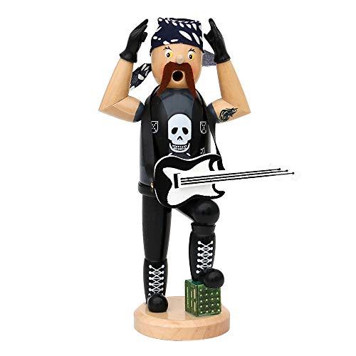 Deko-Geschenke-Shop Räuchermann Räucherfigur Rocker Heavy Metal 20 cm Gitarre, Kopftuch Tattoo 40323