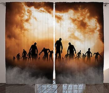 Image: Ambesonne Halloween Decorations Collection | Zombies Dead Men Body Walking in the Doom Mist at Dark Night Sky | Haunted Decor | Living Room Bedroom Curtain
