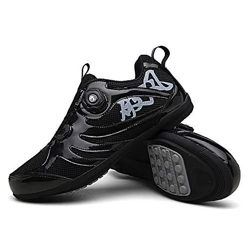 LU-Model Zapatillas de Ciclismo para Carretera Plus, con Suela de y Sistema rotativo de precisión Suela Dura para Zapatos de Montar sin Bloqueo Black-47