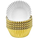Jinlaili 100PCS Papel Cupcakes Metalizado, Muffin Papel Magdalenas, Capsulas para Magdalenas, Cápsulas Magdalenas, Papel para Magdalenas Muffins para Bodas, Cumpleaños Navidad (Oro)