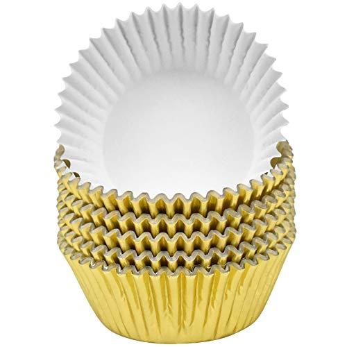 Jinlaili 100 Stück Muffin Förmchen Papier aus Metallfolie, Cupcake, Backförmchen, Muffin Backformen, Muffinförmchen Fettdicht Muffins Cupcakes für Dessert Backen Geburtstag Hochzeit Party (Gold)