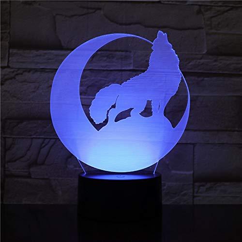 3D Acryl Wolf Kreative Phantomlicht 16 Farbe Touch Fernbedienung Touch Control Usb Energiesparende Tischlampe Wohnzimmer Schlafzimmer Dekoration Led Nachtlicht