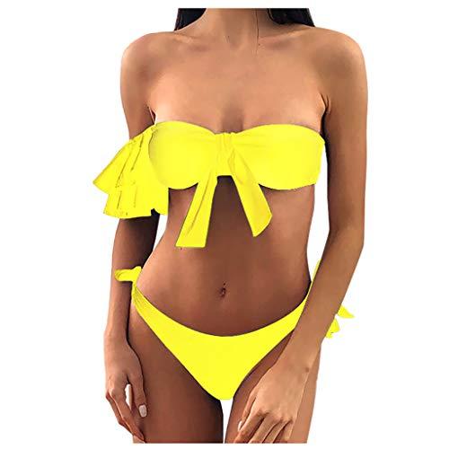 Zweiteilige Badeanzug Damen Push Up Big Size Sexy Tankini Bikini Bandeau Trikini Sets Zweiteilige Badeanzüge Damen Büstenhalter Schwimmen Vetement Femme Pas Cher