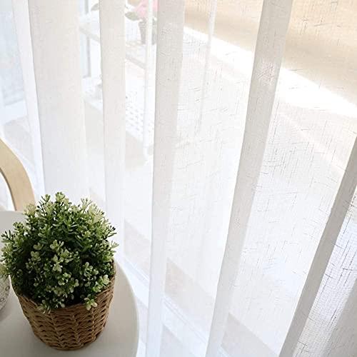 Cortina Opaca para Ventana, Cortinas de la ventana de la ropa de imitación, aislamiento térmico Semier Simplistic Diseño Voile Drapes para Coffee House Study Comenning Room White 200 * 270cm (79 * 106