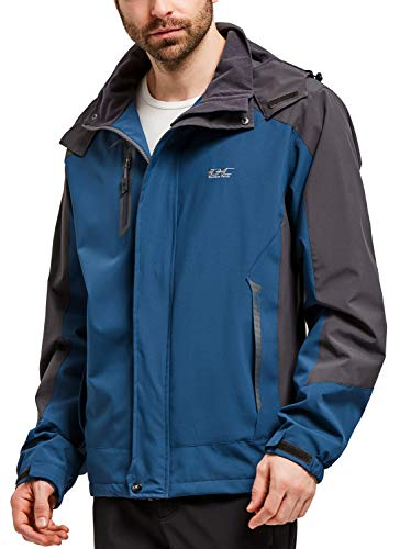 Men Casual Hooded Rain Jacket-Diamond Candy lightweight Waterproof Softshell Raincoat Outdoor Sportswear, Large, Dark Blue