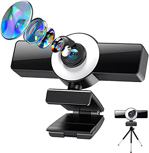 Webcam 1080p FHD Para PC, Con Diseño Giratorio De 360°, Micrófono Incorporado, Abrazadera Y Trípode Extensible, Para Software De Vídeo Para Conferencias De Escritorio