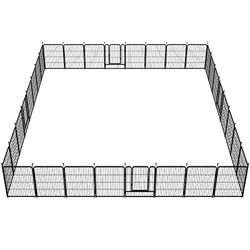 FXW Dog Fence Outdoor, 32 Panels Outdoor Dog Pens Exercise Playen Outdoor Protect Design Poles for Medium/Small Dogs, Pet Puppy Playpen for Camping, RV, Yard, Garden Oudoor and Indoor
