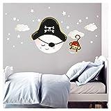 Little Deco DL274 Sticker mural pour chambre d'enfant garçon lune, pirate, singes et nuages I L – 33 x 34 cm (l x h) I Sticker mural enfant chapeau de pirate autocollant mural bébé