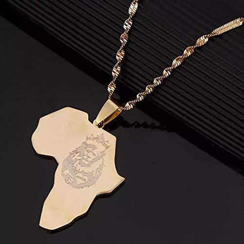 WDBUN Collar Colgante Collar de Mapa de corazón de león de Acero Inoxidable, Regalo de Mapa Africano de Color Dorado para Hombres y Mujeres, joyería de Cadena Navidad Día de San Valentín Regalo