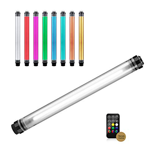 LUXCEO Handheld Photography Light Professional LED Video Light Wand 12 Lighting Mode, Stepless Dimming,CRI≥95 IP68 Waterproof with10400mAH Rechargeable Battery 3000k 5750k RGB Colorful Stick