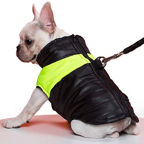 TFENG Hundemantel Hundejacke für Hunde, Warm Gepolstert Puffer Weste Welpen Regenmantel mit Fleece (Grün, L)