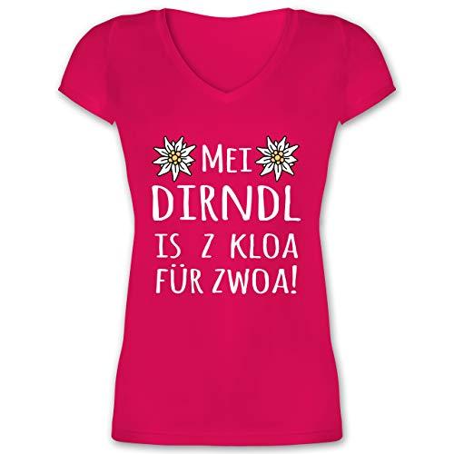 Oktoberfest Damen - MEI Dirndl is z kloa für zwoa! weiß - 3XL - Fuchsia - XO1525 - Damen T-Shirt mit V-Ausschnitt