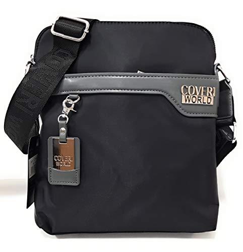 COVERI WORLD CW2210 - Bolso bandolera para hombre, 28 x 24 x 4 cm, color negro